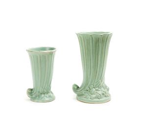 Two (2) MC COY Cornucopia Vases