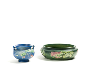 Two (2) ROSEVILLE Low Flower Bowl and Vase
