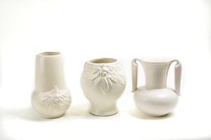 Three (3) Cream Color Vases