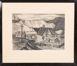 1942 Etching of Colorado Mining Town