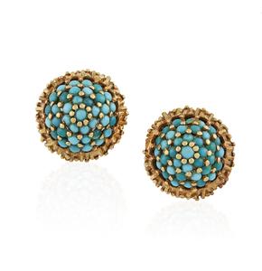 Turquoise 18k Gold Earrings