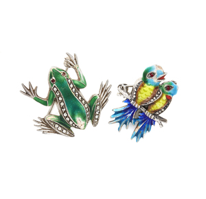 Two (2) Sterling and Enamel Pins (frog and bird)