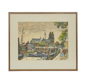 Oskar Laske (1874-1951) Watercolor Painting