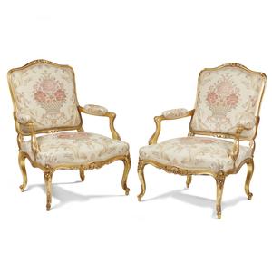 Pair of Louis XVI Style Gilt-Wood Armchairs