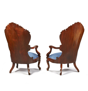 Pair Of Laminated Rosewood Armchairs Attrib. to J.H. Belter in the