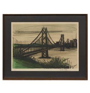 Bernard Buffet (1928-1999), Lithograph, Album San Francisco: Oakland Bridge