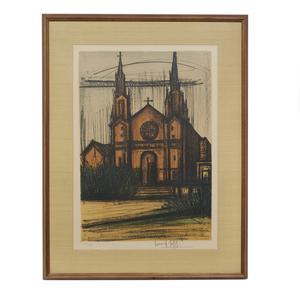Bernard Buffet (1928-1999), Lithograph, Album San Francisco: Mission Dolores Church