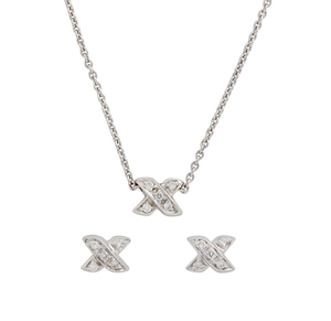 Tiffany & Co Diamond 18k Necklace & Earrings,