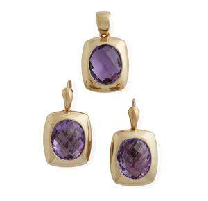 Amethyst 14k Earrings And Pendant