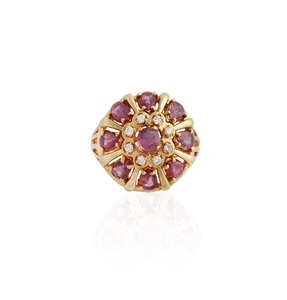 18k Gold And Pink Sapphire Princess Ring
