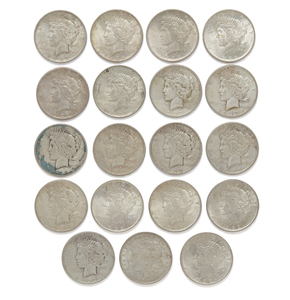 19 Silver Dollars (Morgan and Peace)