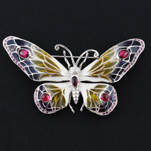 Sterling Silver Diamond and Tourmaline Butterfly Brooch