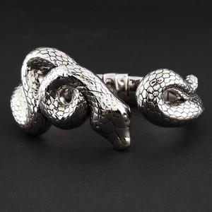 Sterling Silver Python Form Hinged Bracelet