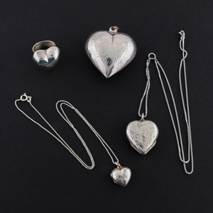 Sterling Silver Locket Necklaces, Holloware Silver Pendant & Ring
