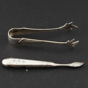 Sterling Silver Sugar Tongs with Bird Claw Grips and Knife