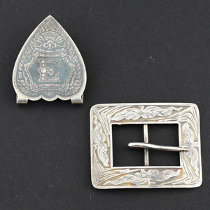 Vintage Heart Shaped Stering Silver Money Clip and Belt Clip
