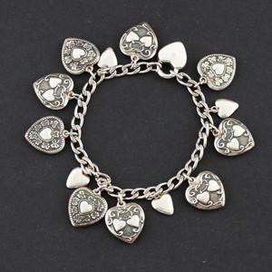 Walter Lampl Sterling Silver Puffy Heart Charm Bracelet