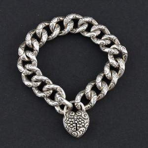 Sterling Silver Link Bracelet with Heart Locket
