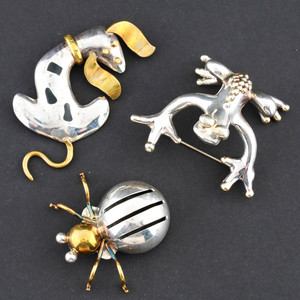 Taxco Sterling Silver Brooches with Gold Plating