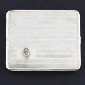 B.B. Co Sterling Silver Cigarette Case with Phi Sigma Kappa Seal
