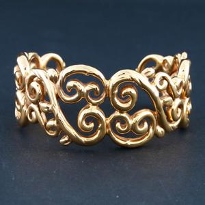 14k Yellow Gold Italian Electroform Cuff Bracelet