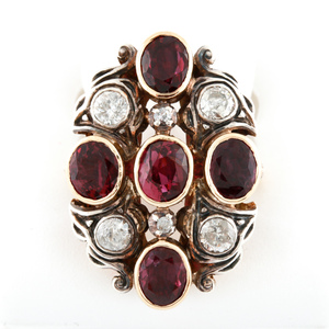 Antique 14K Yellow Gold Red Ruby and Diamond Ring with GIA Report