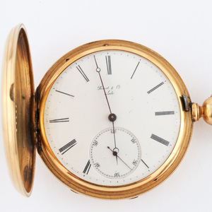 Peret & Co. Locle 18K Yellow Gold Hunter Case Pocket Watch