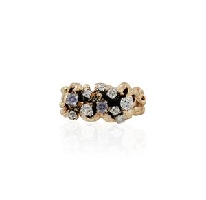 Diamond Synthetic Sapphire 14k Gold RIng