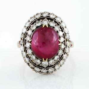 18K Two Tone Natural No Heat Burmese Ruby and Diamond Ring with filigree detail