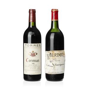 1971 Yverdon Cabernet Sauvignon & 1995 Torres Coronas Tempranillo