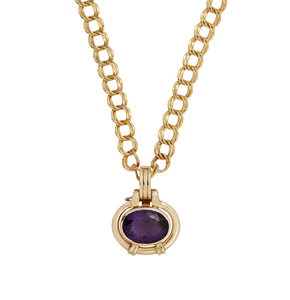 Amethyst 14k Pendant on Gold Plated Chain
