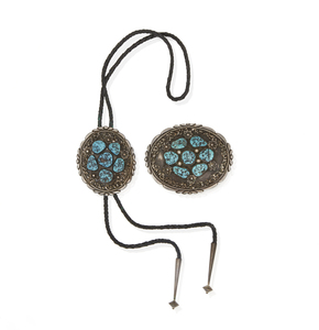 Southwest Silver and Turquoise Bolo and Buckle