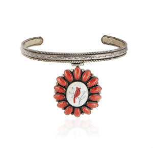 Southwest Silver Inlay Coral Collar and Ring