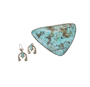 Turquoise Buckle and Earrings