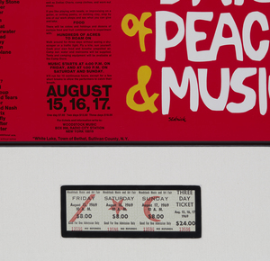 WOODSTOCK POSTER and THREE-DAY TICKET