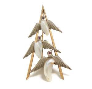 14K Gold Freshwater Pearl Flying Geese Brooch