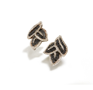 Black and White Diamond Sterling Silver Earrings