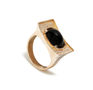 Onyx and Diamond 14K Ring