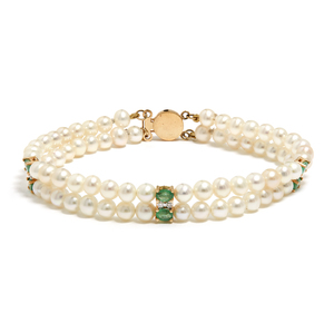 14k Diamond Emerald and Freshwater Pearl Bracelet