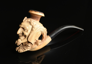 TWO MEERSCHAUM PORTRAIT TOBACCO PIPES, LATE 19TH/EARLY 20TH CENTURY,