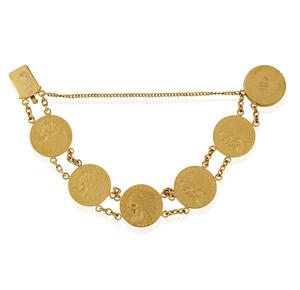 22k Gold 2 1/2 Dollar Coin Bracelet