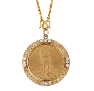 1927 St. Gaudens Gold Coin Pendant and Chain