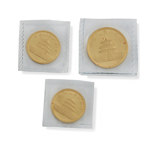 Three Gold Panda Bullion Coins