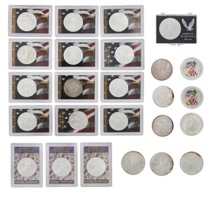 24 American Silver Eagle and Peace Dollars