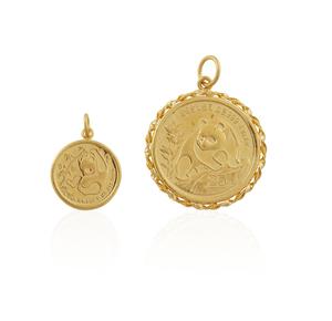 Two Gold Chinese Panda Bullion Coin Pendants