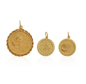 Three Gold Chinese Bullion Panda Coins as Pendants