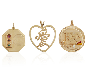 Three 14k Gold Pendants, 22.6 grams