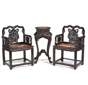 Pair of Chinese Armchairs and Table