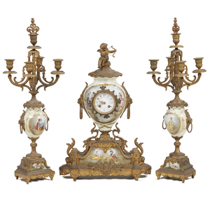 3-Piece Victorian Clock Garniture
