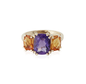 Amethyst Citrine 14k Gold Ring